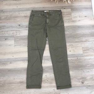 Anthropology chino relaxed olive green crops